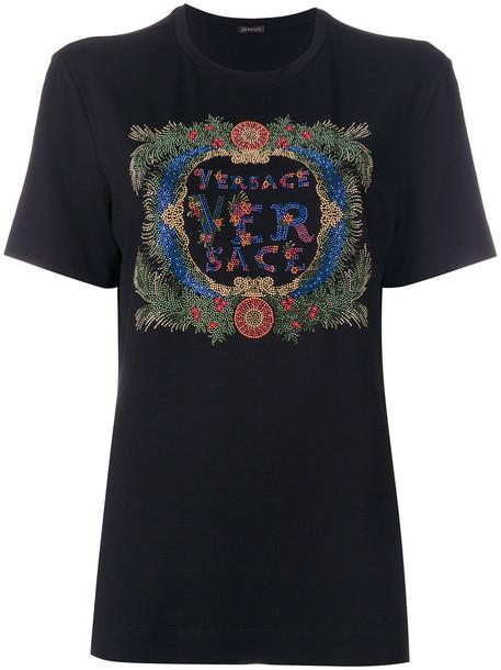 VERSACE t-shirt shirt t-shirt women spandex embellished black top