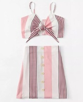 dress,skirt,girly,girl,two-piece,two piece dress set,crop tops,cropped,crop,matching set,pink,white,stripes
