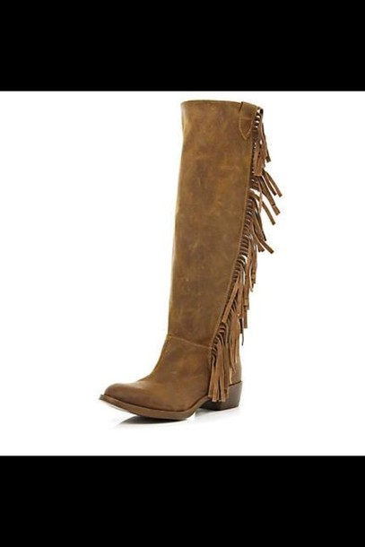 shoes brown fringes cowboy boots wheretoget