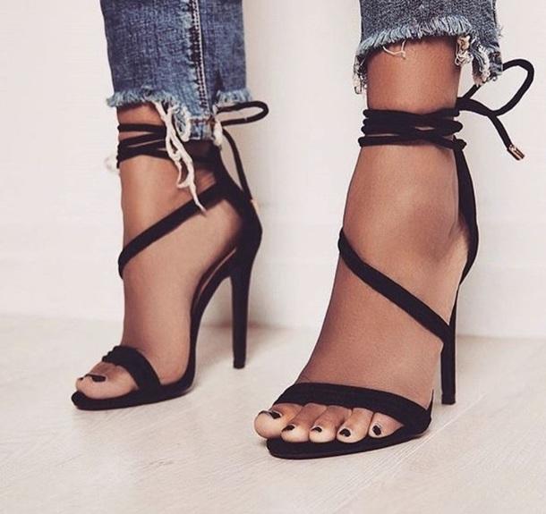 shoes black heels sandals black high heeled sandals
