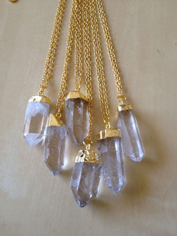 Quartz Clear Raw Rough Point Crystal Bohemian Gold Necklace NEW Boho Nugget | eBay