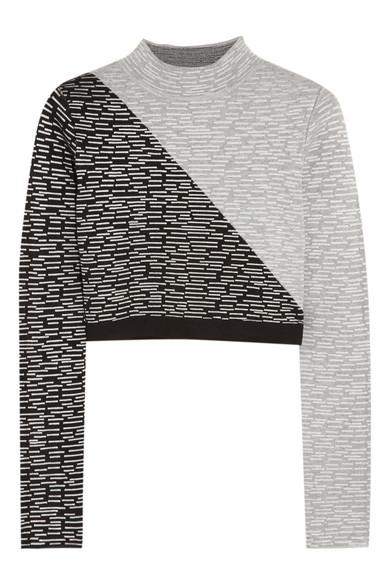 Jonathan Simkhai|Cropped intarsia jersey top |NET-A-PORTER.COM