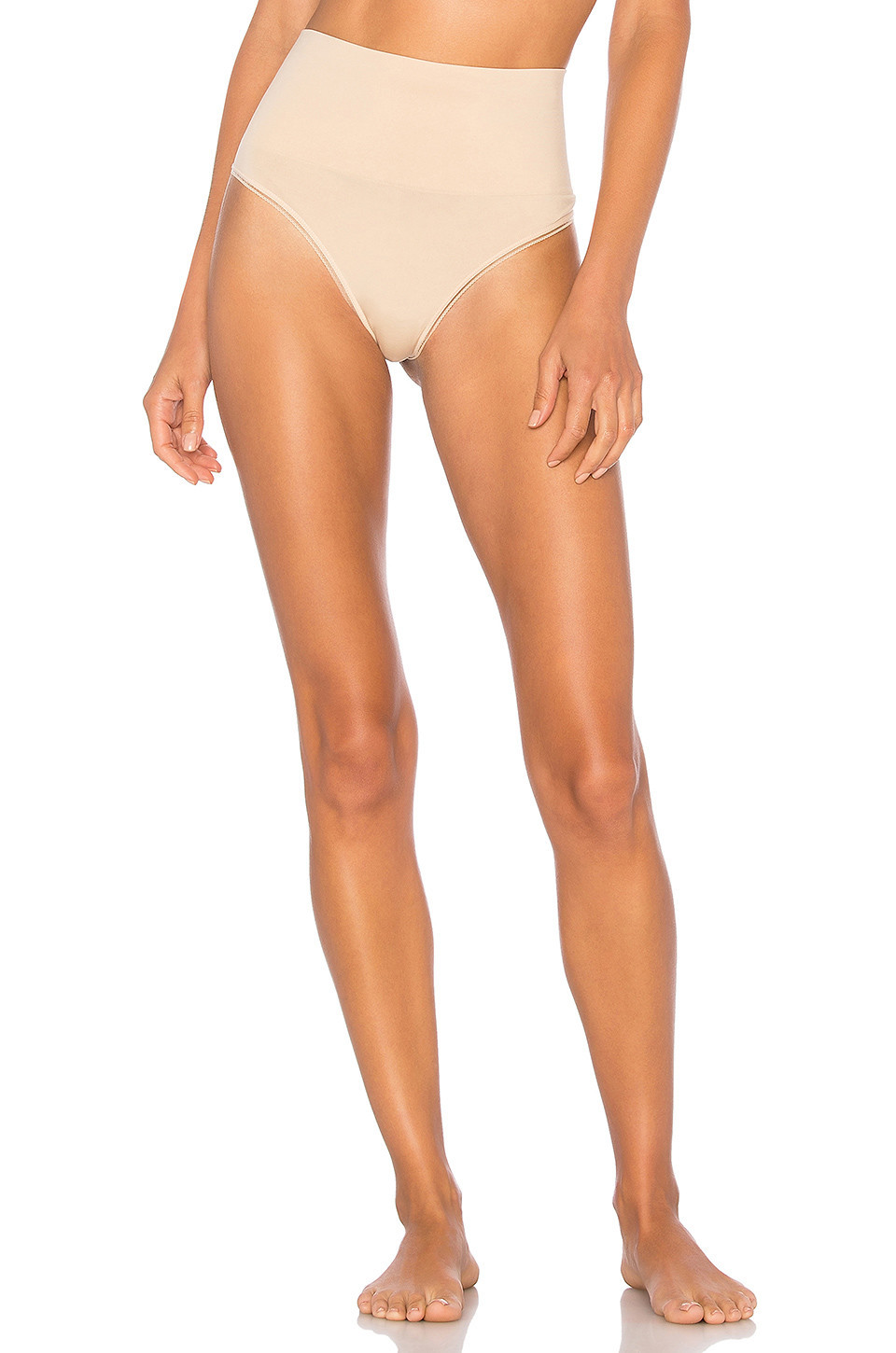 Yummie by Heather Thomson Seamlessly Shaped Ultralight Nylon Thong in beige / beige