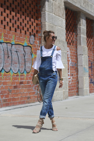 b a r t a b a c blogger bag shoes sunglasses denim overalls white top long sleeves nude bag bell sleeves nude heels