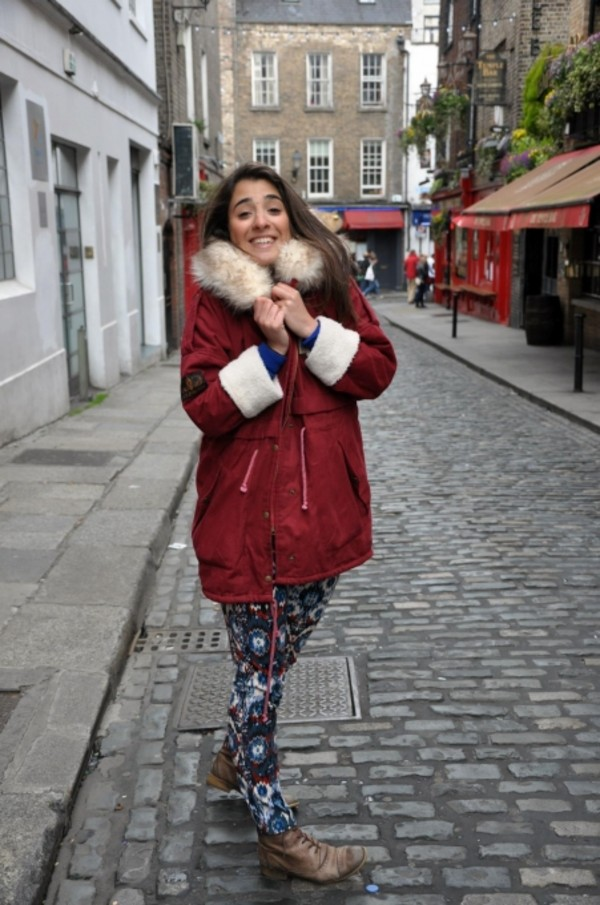 Coat: clothes, red dress, red coat, shoes, parka - Wheretoget