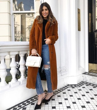 coat brown coat long coat black shoes teddy bear coat fuzzy coat blue jeans jeans denim shoes mules bag