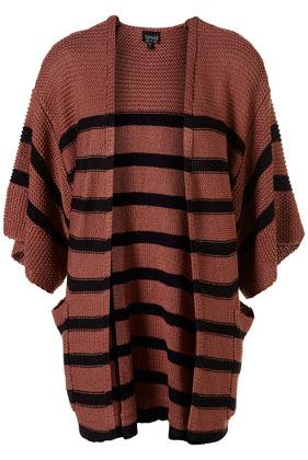 Knitted navy tape stripe kimono