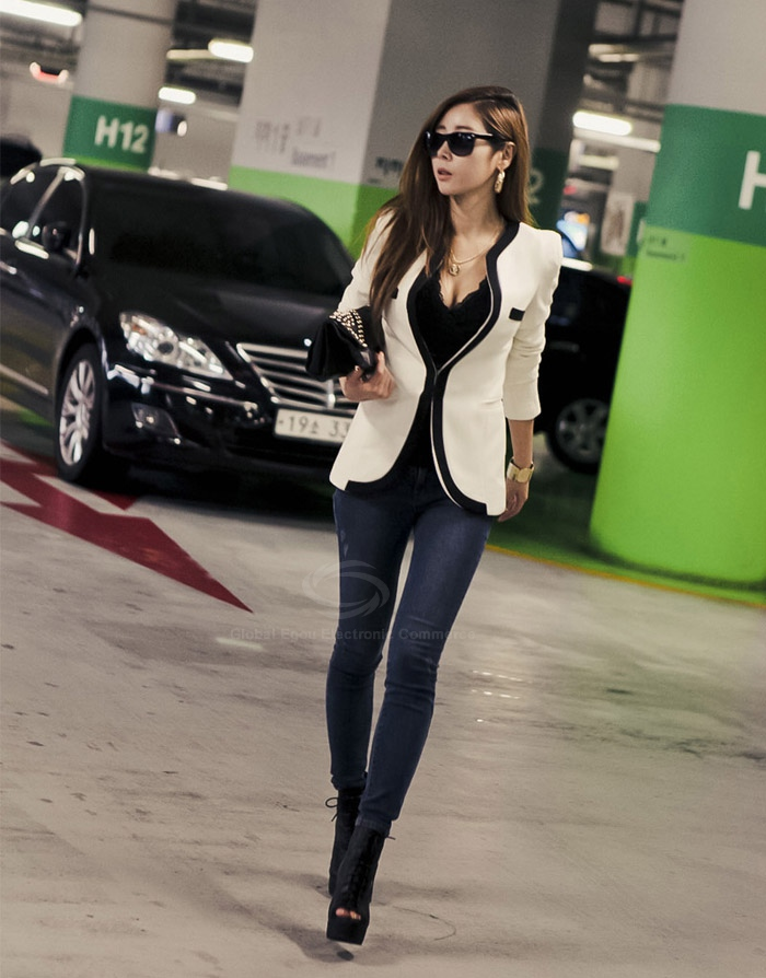 Elegant blocking color splicing design dacron blazers for women (white,m) china wholesale