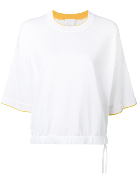 DKNY - contrast edging top - women - Cotton/Nylon/Spandex/Elastane - M, White, Cotton/Nylon/Spandex/Elastane