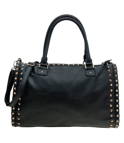 Black stud detail barrell slouch bag at a
