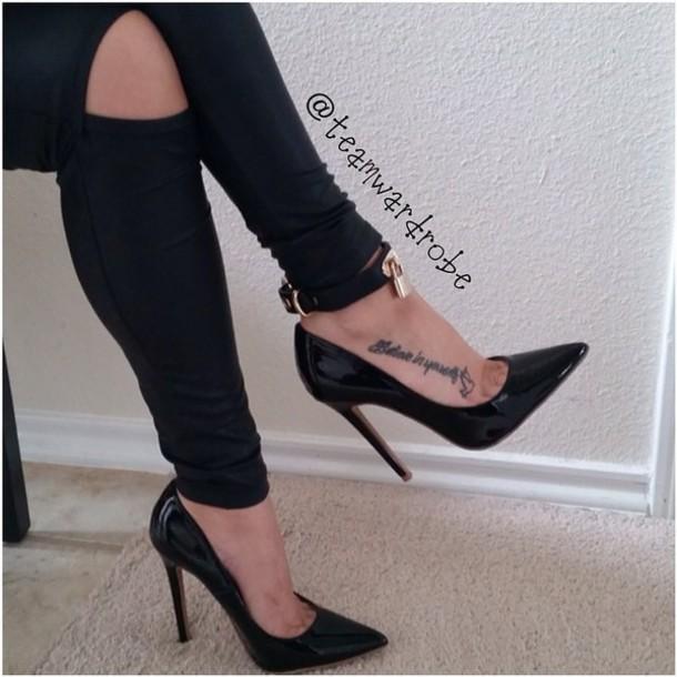 shoes black heels pants