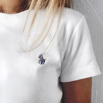 t-shirt white t-shirt ralph lauren top white summer designer tumblr blanc bleu marine shirt grey