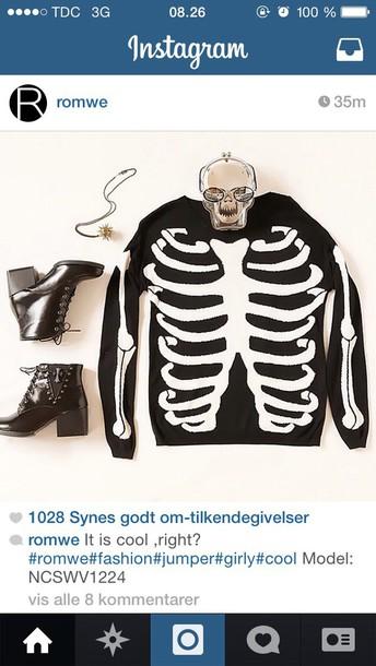 sweater white bones bones sweater