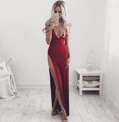 dress,jessica rabit,long gown,mermaid prom dress,jessica rabbit,plunge gown,bridesmaid,long red dress