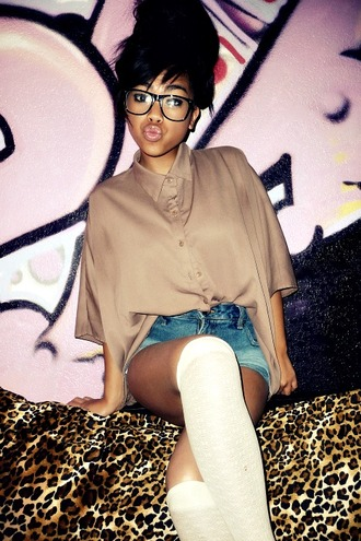 blouse shorts sunglasses