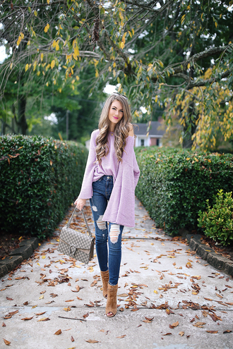 southern curls and pearls blogger sweater jeans jewels shoes bag make-up bell sleeve sweater ankle boots peep toe boots fall outfits gucci bag