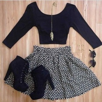 top black crop tops black and white skirt black high heels