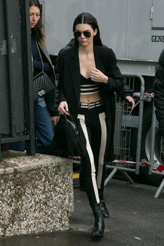pants top kendall jenner model off-duty jacket fashion week 2016 paris fashion week 2016 crop tops coat