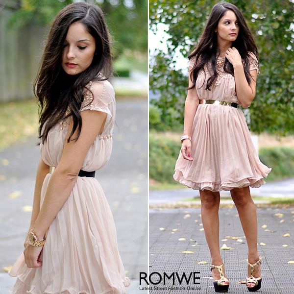 ROMWE | Beaded Pleated Layered Apricot Dress, The Latest Street Fashion