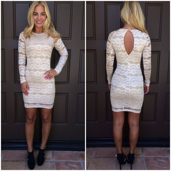 cream dress cream bodycon bodycon dress cream floral lace floral lace dress long sleeve dress www.ustrendy.com