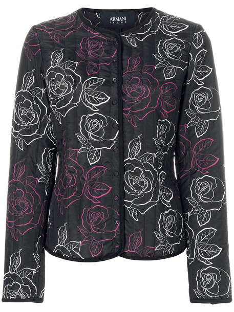 jacket rose women print black