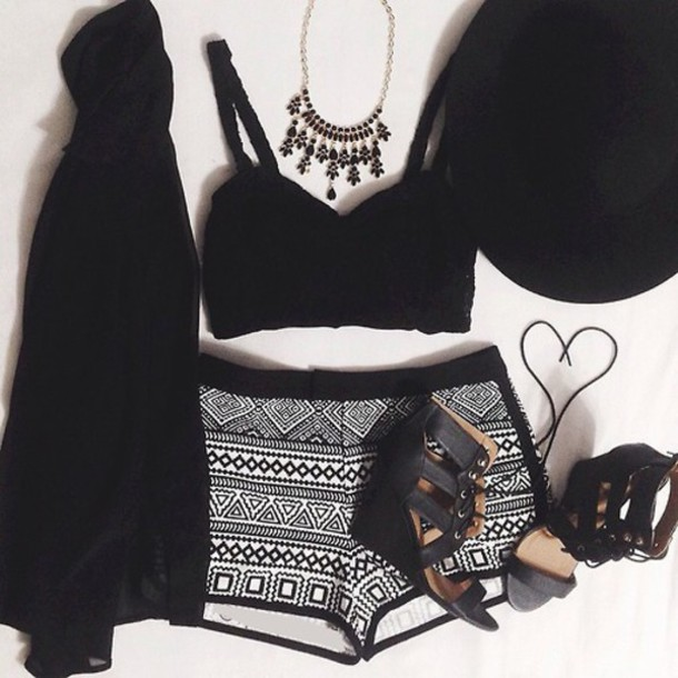 shorts black shorts black and white shorts black and white  outfit tank top