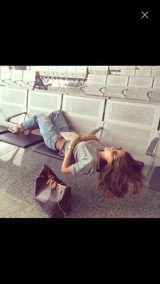 jeans boyfriend jeans ripped jeans airport fashion cute
