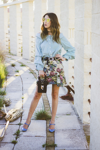 shoes and basics blogger blouse skirt bag shoes sunglasses blue shoes heels mini skirt printed skirt blue shirt fall outfits