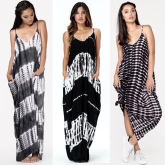 dress mila maxi maxi dress bohemian boho chic rocky barnes tie dye tie dye dresses tie dye dress black and white