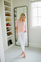 ivory lane,blogger,blouse,jeans,shoes,jewels,pink top,white jeans,pink heels,light pink,wrap top,short sleeve,pumps,nude pumps,high heel pumps,pointed toe pumps,spring outfits