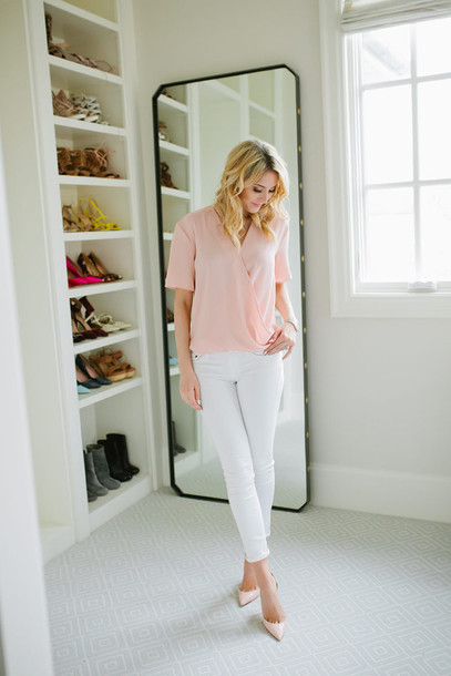 ivory lane blogger blouse jeans shoes jewels pink top white jeans pink heels light pink wrap top short sleeve pumps high heel pumps pointed toe pumps spring outfits