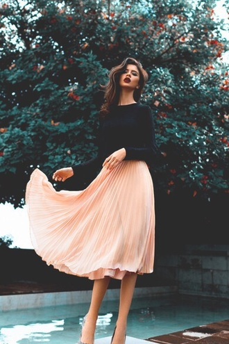 skirt colorful pink long pretty girly feminine gorgeous blouse pleated midi skirt sweater clothes