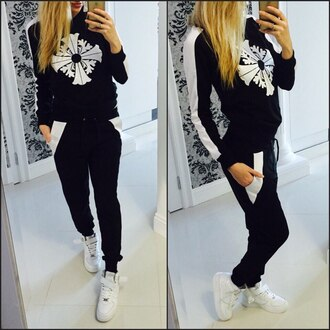 jumpsuit black outfit outfit idea fall outfits fall sweater suit track suit sportswear sports pants pants girly wishlist dope wishlist swag top printed sweater sweatshirt tumblr tumblr outfit sweater sweatpants streetwear streetstyle