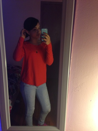 loose fit sweater jeans high heels blouse red neon high waisted light blue jeans sassy nice sexy dress long sleeve lov coral red maxi pretty long sleeves loose tshirt lol badass amazing flawless orange