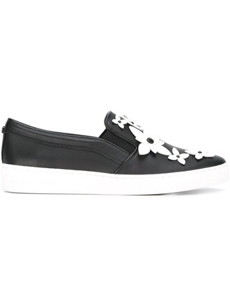 women sneakers leather cotton black shoes