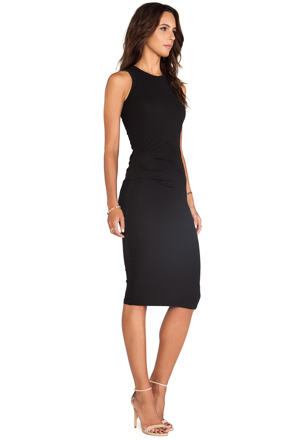 James Perse Skinny Tucked Tank Dress in Black | REVOLVE