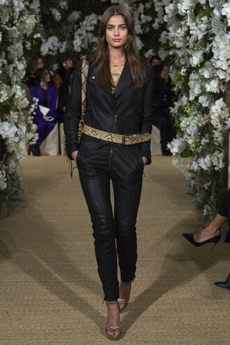 jumpsuit ralph lauren taylor hill pants leather leather pants belt nyfw 2017 fashion week 2017 runway model