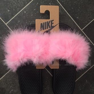 shoes fur slides red nike slides fluffy nike marabou feather marabou adidas fashion