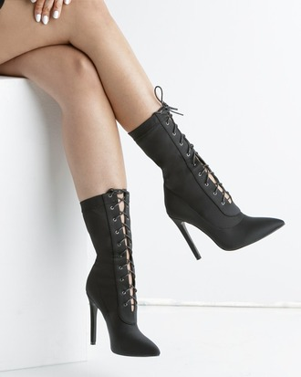 shoes booties black black shoes black booties lace up lace-up shoes lycra lycra booties flyjane the loud factory
