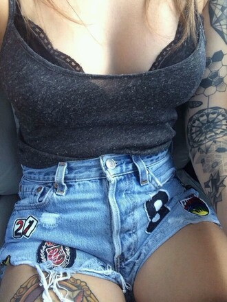 shorts denim shorts patch high waisted shorts