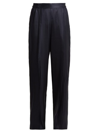 high jacquard silk satin navy pants