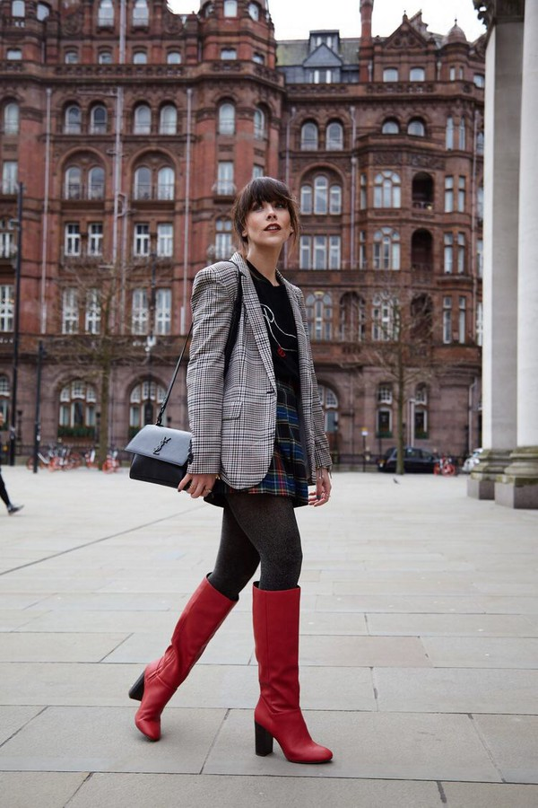 shoes boots red boots skirt plaid blazer plaid blazer tights mini skirt tartan skirt tartan