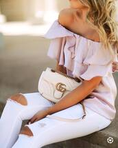 top,tumblr,ruffled top,pink top,off the shoulder,off the shoulder top,bag,white bag,gucci,gucci bag,denim,jeans,white jeans,ripped jeans,ruffle