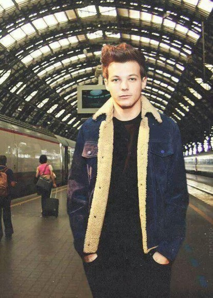 jeans jacket jacket fur louis tomlinson faux fur jacket celebrity style