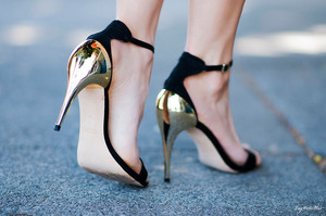 new zara black gold combination high heel sandals shoes celebrities gorgeous ebay
