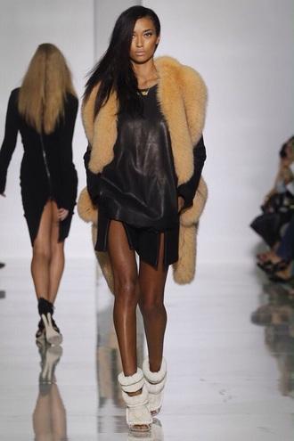 dress kanye west leather dress faux fur vest black dress little black dress