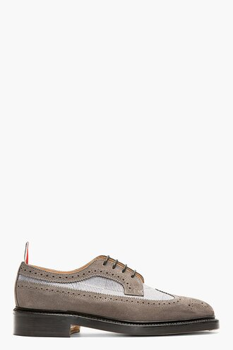 brogues shoes suede menswear casual shoes grey anchor