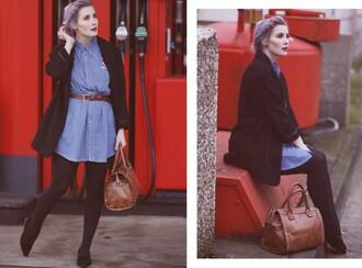 like a riot blogger denim dress belted dress brown leather bag coat jewels dress belt bag