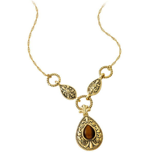 jewels gold plated pear shaped tiger eye drop necklace gold tiger eye necklace