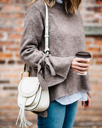 sweater tumblr grey sweater bell sleeves bell sleeve sweater bag white bag shoulder bag tassel denim jeans blue jeans coffee fall outfits